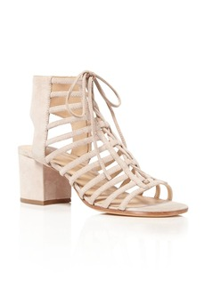 Pour La Victoire Amabelle Open Lace Up Mid Heel Sandals