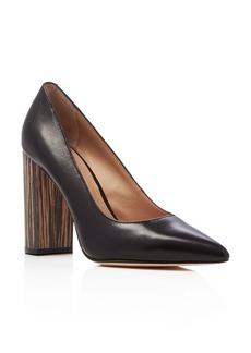 Pour La Victoire Celina Block Heel Pointed Toe Pumps