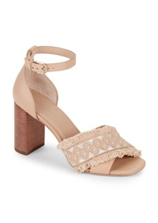 Pour La Victoire Fringed Stacked Block Leather Sandals
