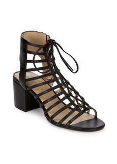 Pour La Victoire Leather Block Heel Sandals