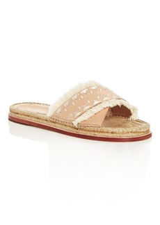 Pour la Victoire Pikko Embroidered Espadrille Slide Sandals
