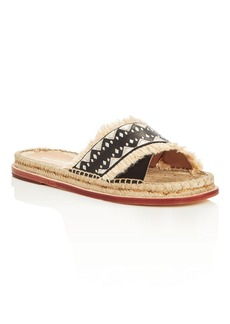 Pour la Victoire Pikko Embroidered Espadrille Slide Sandals