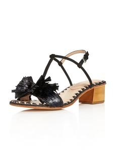 Pour La Victoire Women's Julie Nubuck Leather & Raffia T-Strap Block Heel Sandals