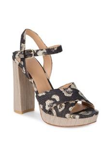 Pour La Victoire Yasmin Jacqyard Leopard Sandals