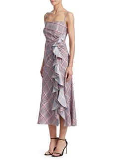 Prabal Gurung A-Line Plaid Ruffle Dress