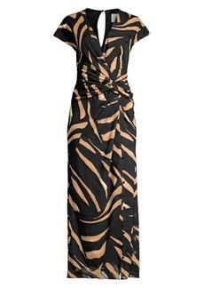 Prabal Gurung Animal Print Wrapped Maxi Dress