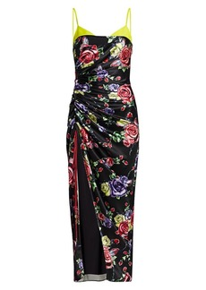 Prabal Gurung Bralette Top Gathered Slit Silk Midi Dress