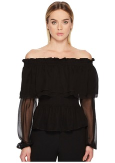 Prabal Gurung Chiffon Off the Shoulder Long Sleeve Top