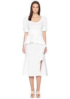 Prabal Gurung Cotton Poplin Geena Short Sleeve Wrap Front Dress w/ Juliet Sleeve