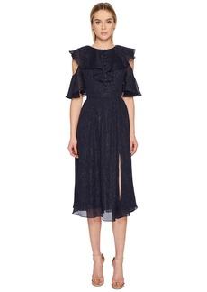Prabal Gurung Crinkle Lurex Chiffon Long Sleeve Dress