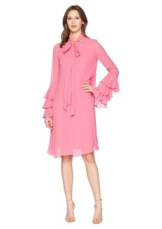 Prabal Gurung Crinkle Viscose Hudson Long Sleeve Ruffle Cuff Dress