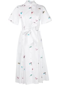Prabal Gurung embroidered belted shirt dress