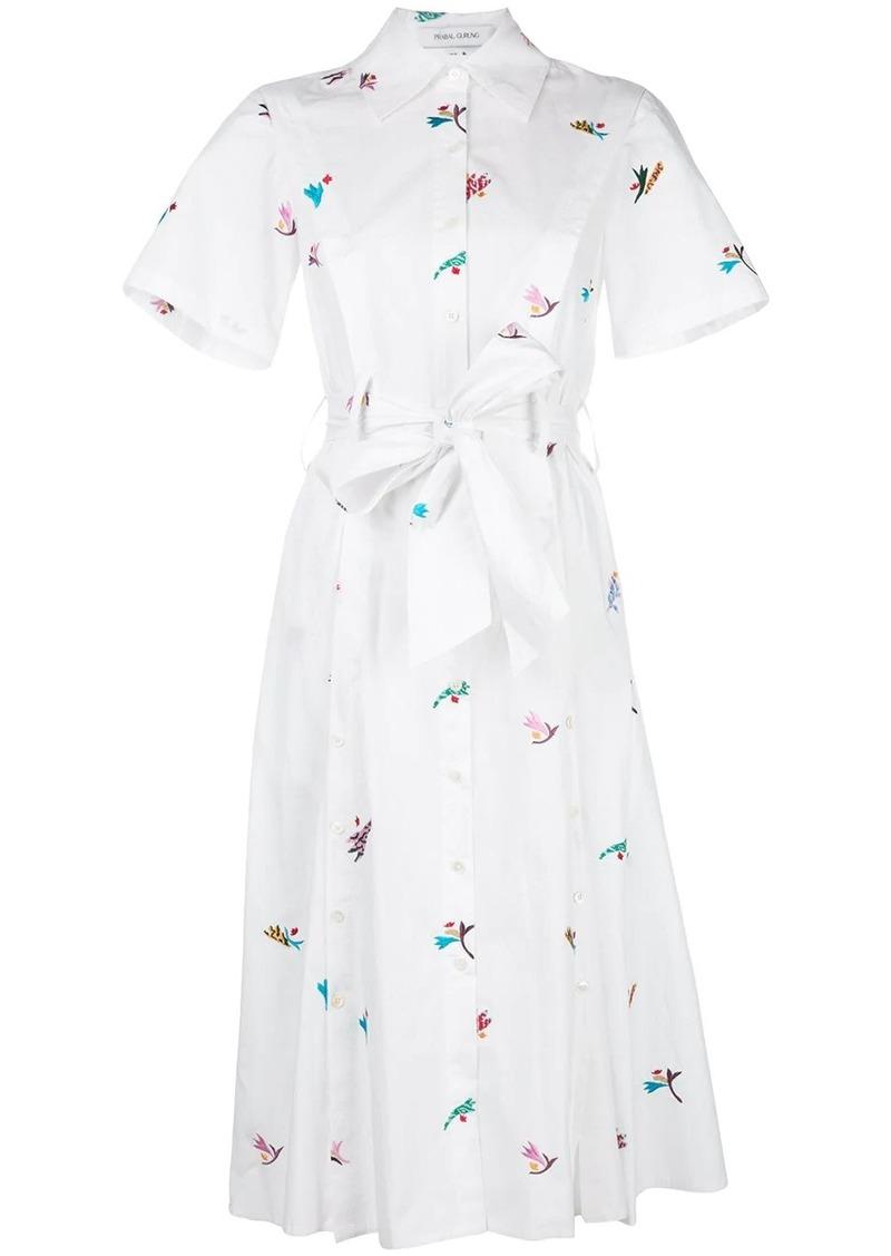 Prabal Gurung embroidered belted shirt dress