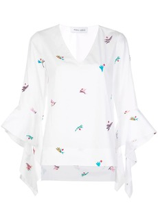 Prabal Gurung embroidered cascade-cuffs blouse