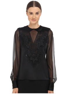 Prabal Gurung Embroidered Sheer Blouse