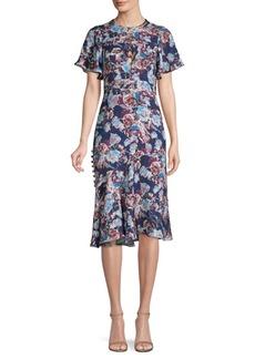 Prabal Gurung Floral Charmeuse Flutter Sleeve Dress