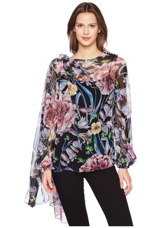 Prabal Gurung Floral Chiffon Long Sleeve Top w/ Scarf
