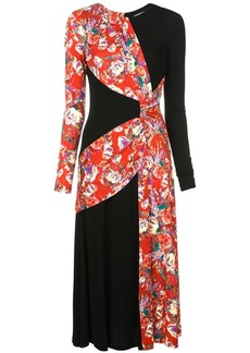 Prabal Gurung floral contrast long-sleeve dress