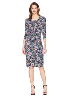 Prabal Gurung Floral Jersey Shayla Long Sleeve Knot Front Dress