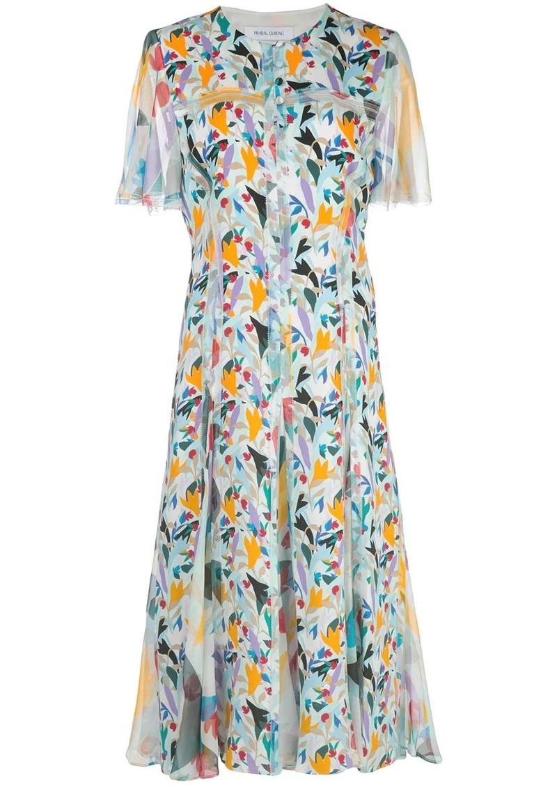 Prabal Gurung floral-print collarless shirt dress