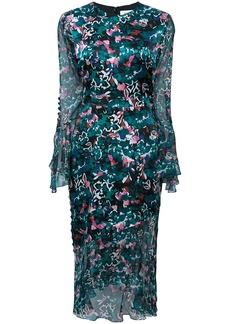 Prabal Gurung floral ruffle sleeve dress