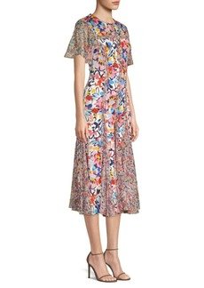 Prabal Gurung Floral Silk Chiffon Midi Dress