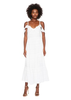 Prabal Gurung Fluis Jacquard Barre Cold Shoulder Long Dress