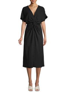 Prabal Gurung Knot-Front Silk Midi Dress