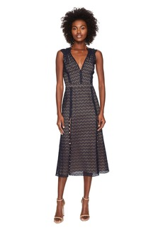 Prabal Gurung Lace Cotton Eyelet Sleeveless Dress