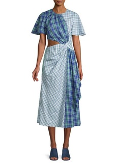 Prabal Gurung Mixed-Print Cotton Midi Dress