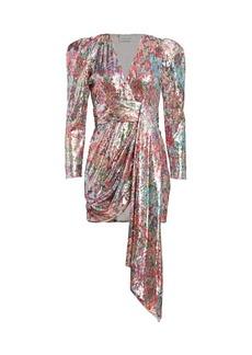 Prabal Gurung Mixed Sequin Wrapped Sash Mini Dress