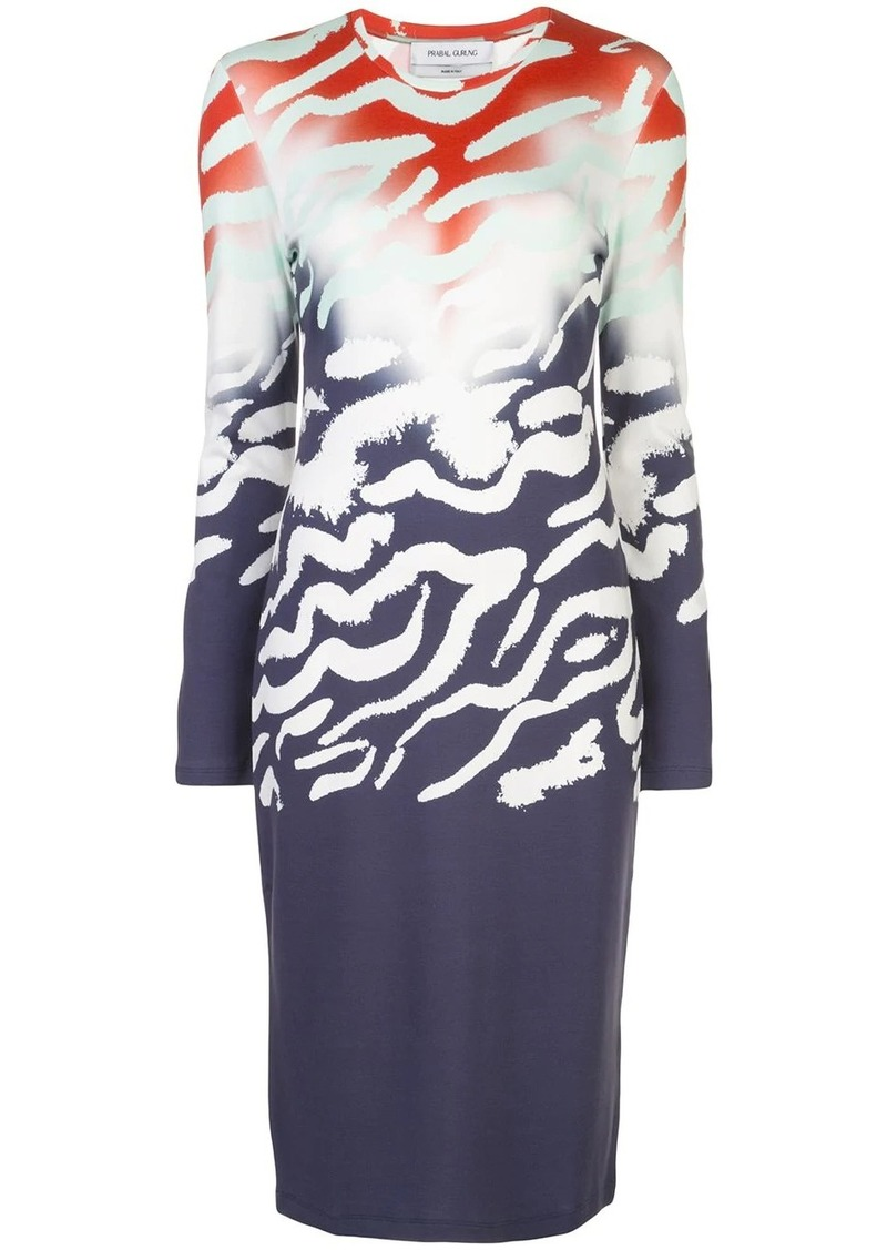 Prabal Gurung ombre animal print dress