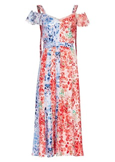 Prabal Gurung Paneled Cold-Shoulder Silk Dress