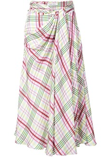 Prabal Gurung plaid tie front skirt