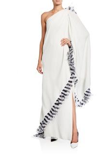 Prabal Gurung Ankara One-Shoulder Draped Gown w/ Feather Trim