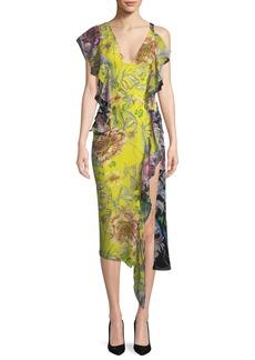 Prabal Gurung Asymmetric Cold-Shoulder Silk Midi Dress