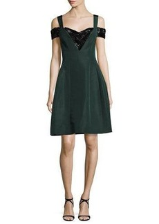 Prabal Gurung Cold-Shoulder Beaded Fit & Flare Dress