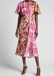 Prabal Gurung Colorblock Cutout Draped Silk Midi Dress