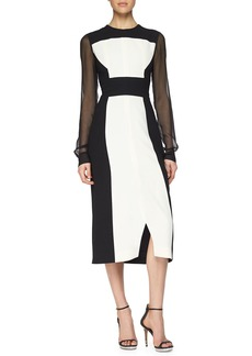 Prabal Gurung Colorblock Sheer-Sleeve Midi Dress