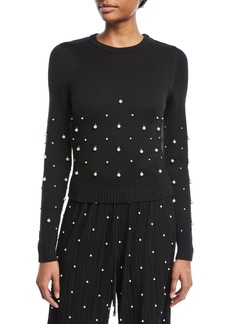 Prabal Gurung Crewneck Long-Sleeve Sweater with Pearlescent Embellishments