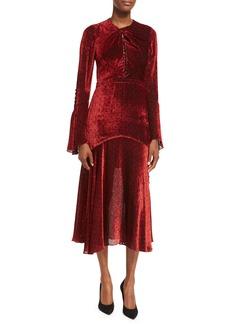 Prabal Gurung Dotted Bell-Sleeve Midi Dress