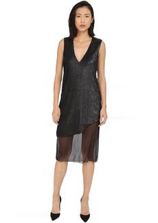 Prabal Gurung Dusted Pailette Sleeveless Dress w/ Sheer Overlay