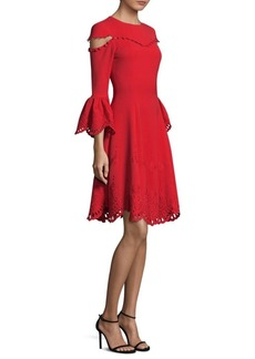 Prabal Gurung Embroidered Bell-Sleeve Fit-and-Flare Dress