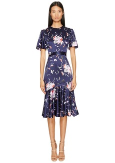 Prabal Gurung Falling Floral Charmeuse Flounce Sleeve Dress w/ Flare Skirt