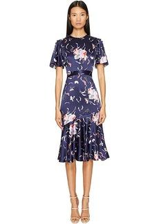 Prabal Gurung Falling Floral Charmeuse Flounce Sleeve Dress w/ Flare Skirt