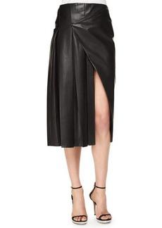 Prabal Gurung Faux-Wrap Pleated Leather Midi Skirt