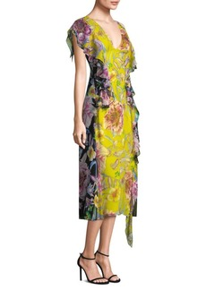 Prabal Gurung Floral Chiffon Midi Dress