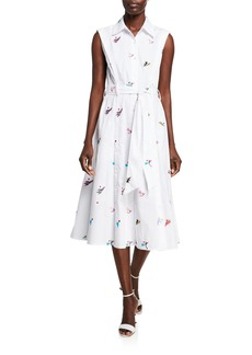 Prabal Gurung Floral-Embroidered Sleeveless Shirtdress