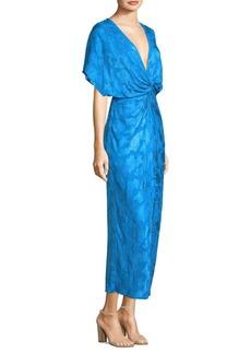 Prabal Gurung Floral Fil Coupe Twist-Front Dress