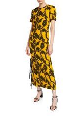 Prabal Gurung Floral Jacquard Side-Tie Dress